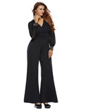 V-neck Lace Stitching Flared Wide Leg Jumpsuit