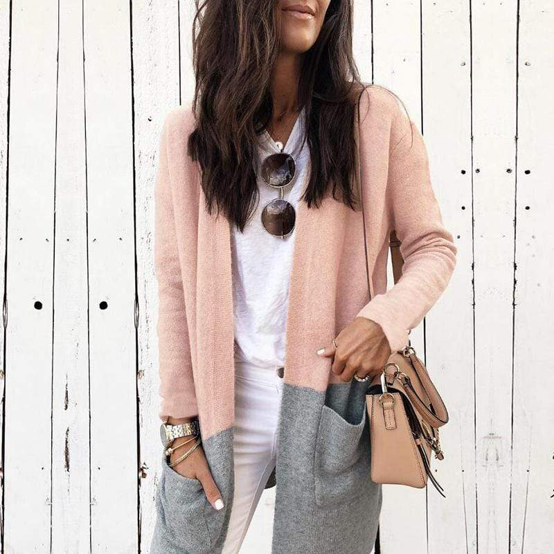 Long Sleeve  Solid  Knitted Cardigan