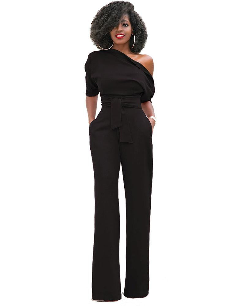 Exlura Strapless Off Shoulder Black Jumpsuit