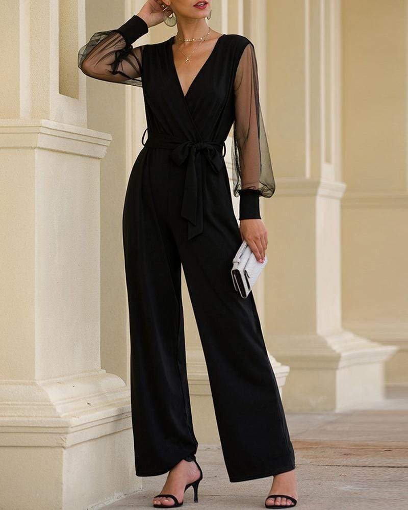Exlura Mesh Splicing Lantern High Waist Lace-up Jumpsuit