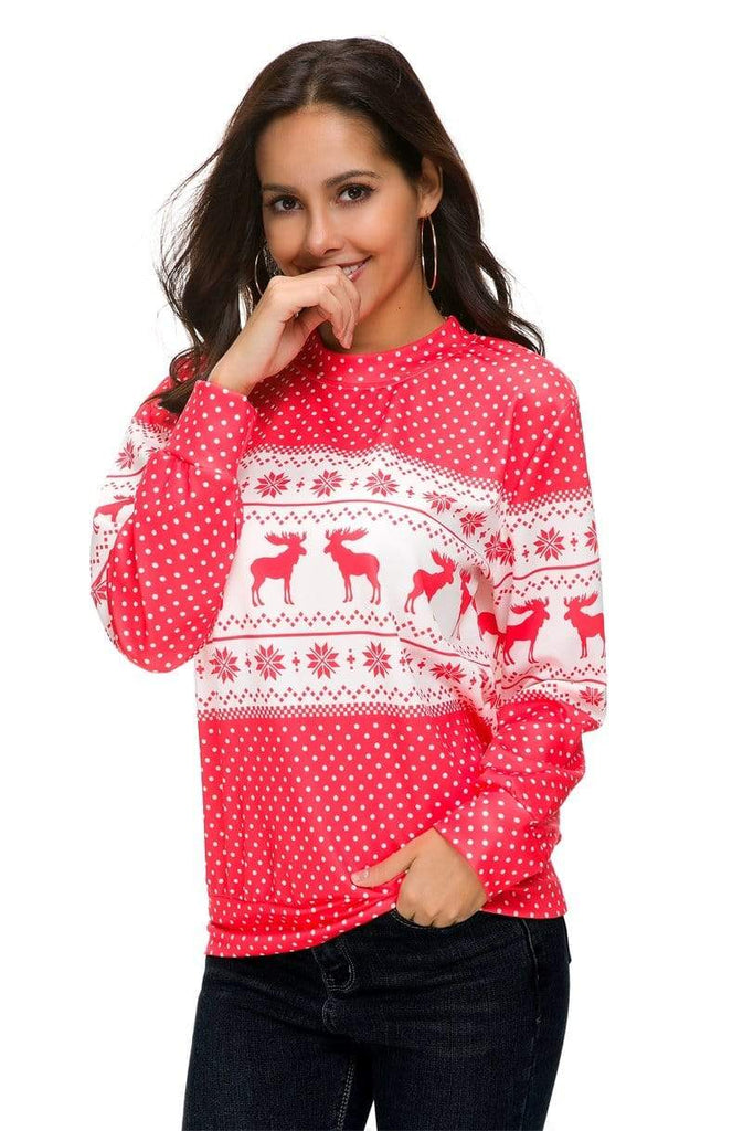 Exlura Reindeer Ugly Christmas Pullover with Wave point