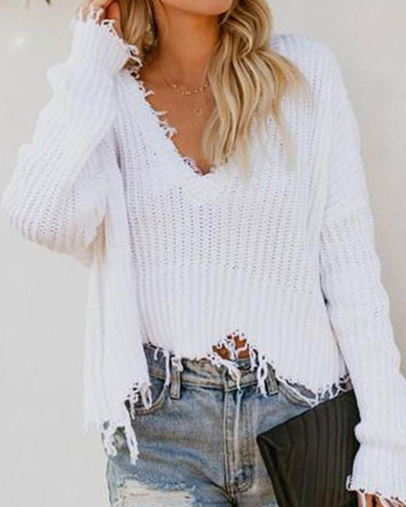 Exlura Deep V-neck Short Bryant Fringe Sweater