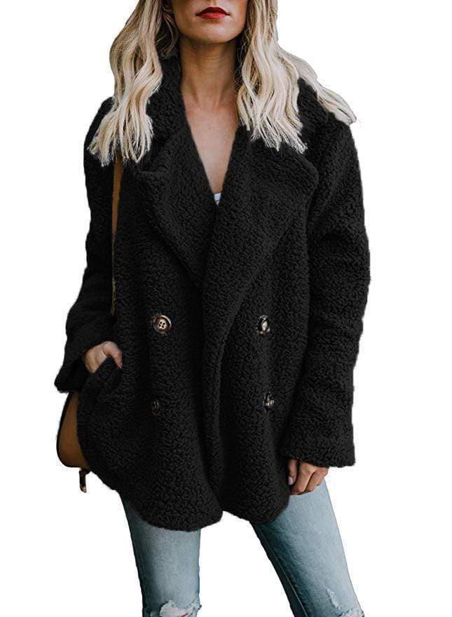 Plus Size Double Breasted Faux Fur Notched Collar Teddy Coat - Exlura