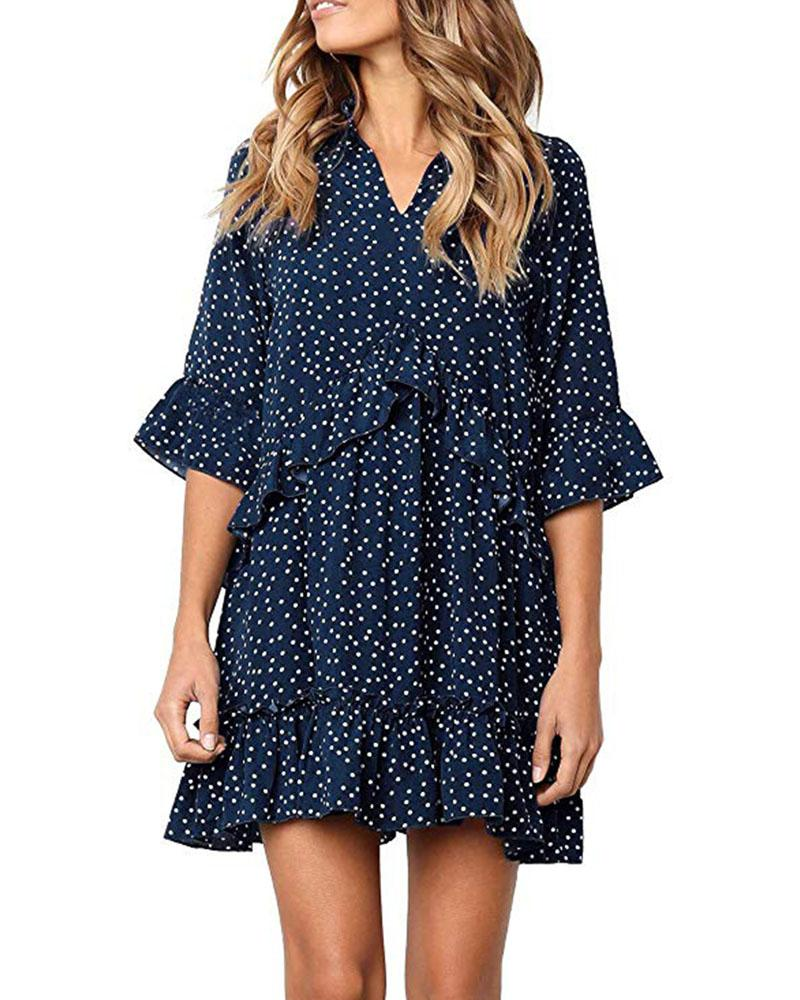 Ruffle Polka Dot V Neck Bell Sleeve Casual Dress