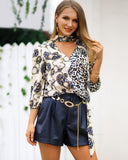 V-neck Print Bandage Long-sleeved Shirt