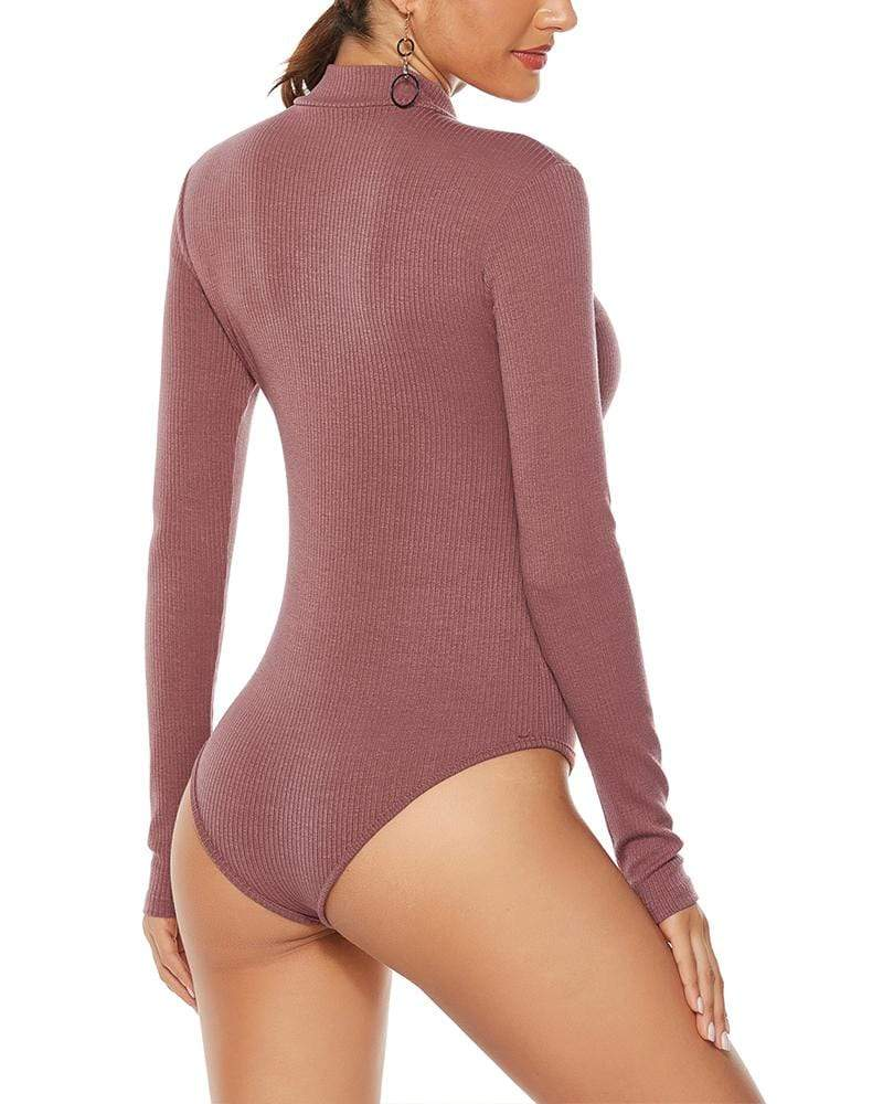 Exlura Sexy Bottoming Zipper Stand Collar Slim Knit Jumpsuit