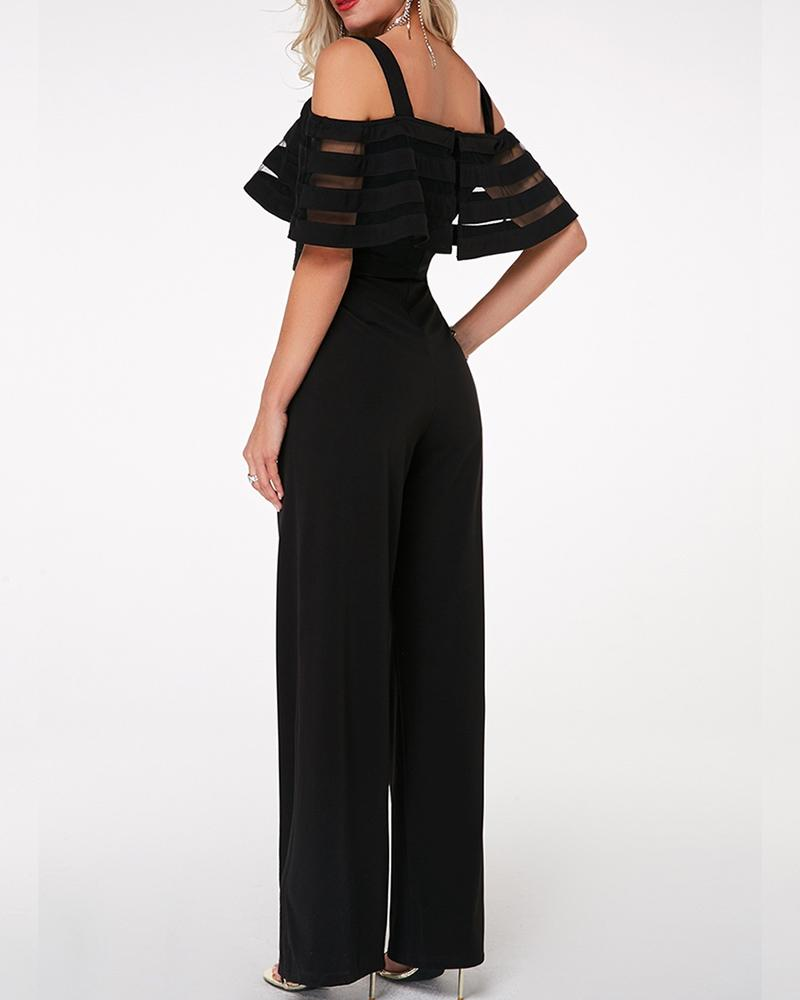 Strappy Cold Shoulder Black Overlay Embellished Jumpsuit