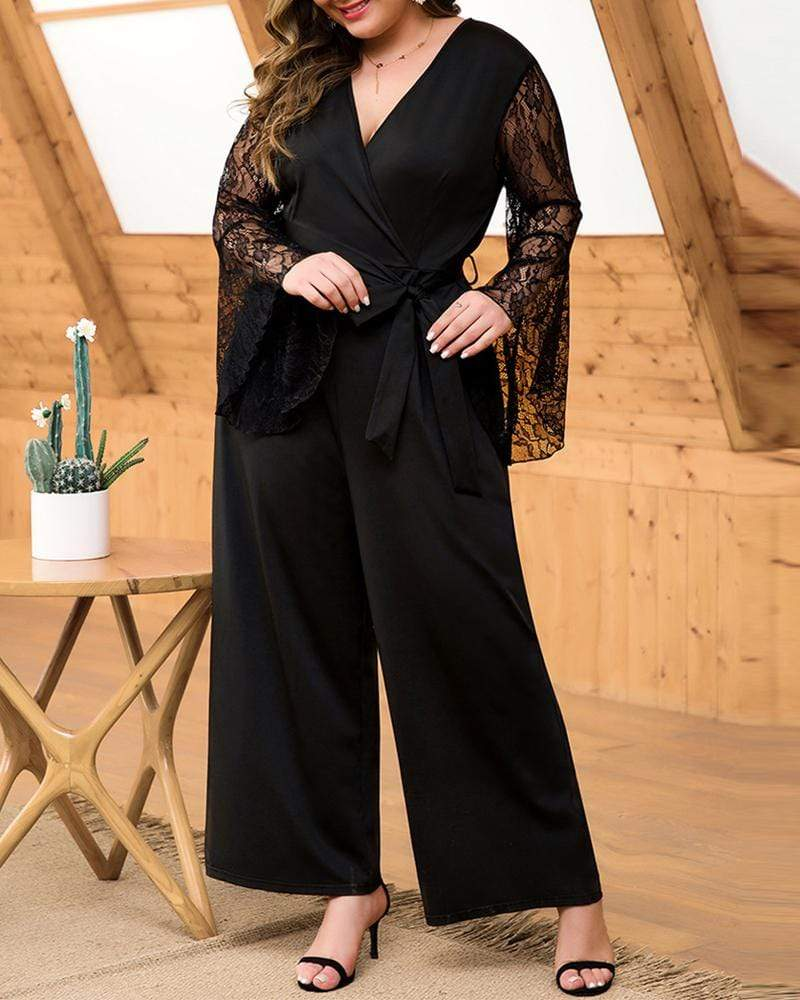 Exlura Lace Stitching Horn V-neck Lace Up Wide Leg Jumpsuit