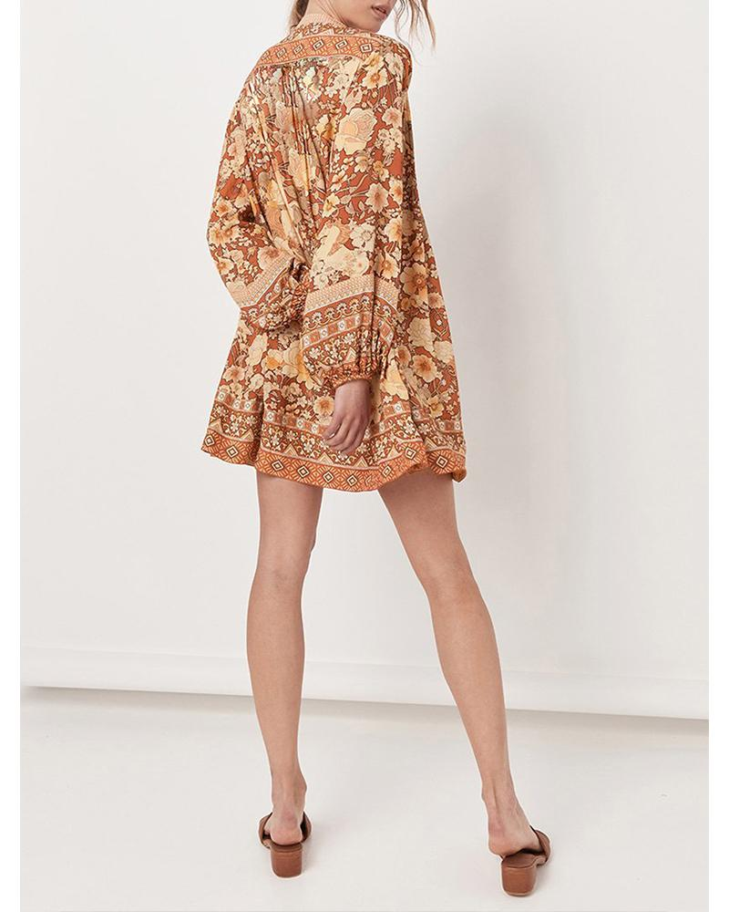 Exlura V-neck Long Sleeve Loose Floarl Print Dress
