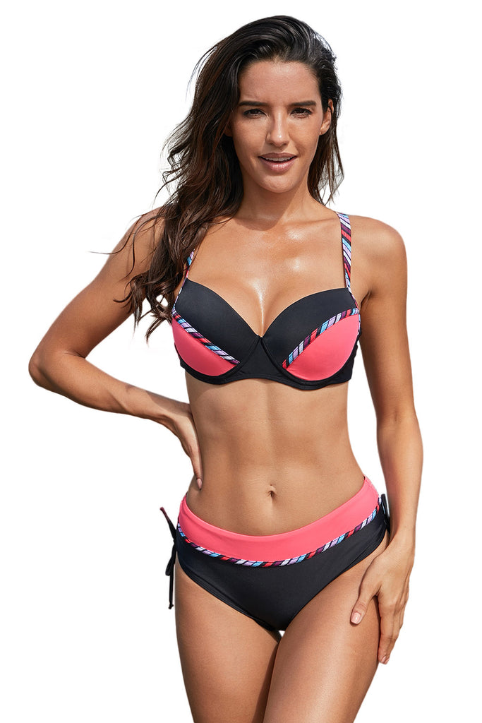 Splice Stripes Print Bikini Set