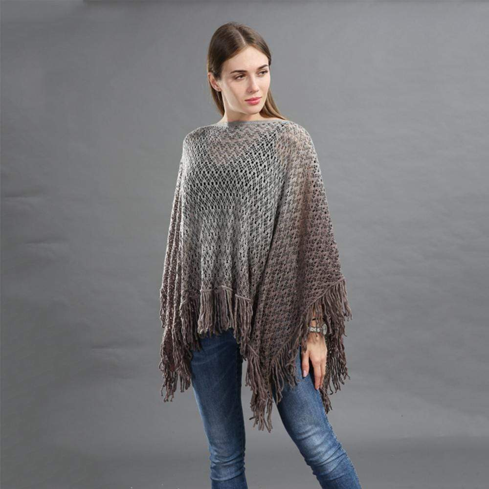 Dip Dye Knitted Poncho With Tassle Detail - Exlura