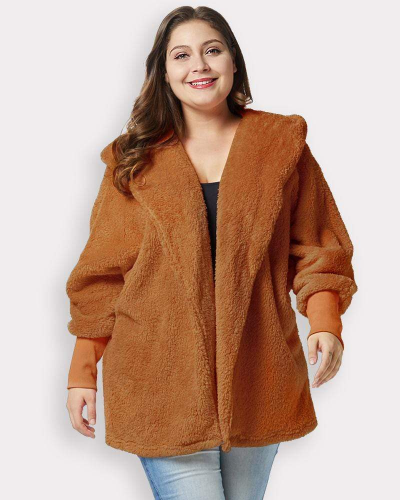 Faux Fur Hooded Teddy Plus Size Coat