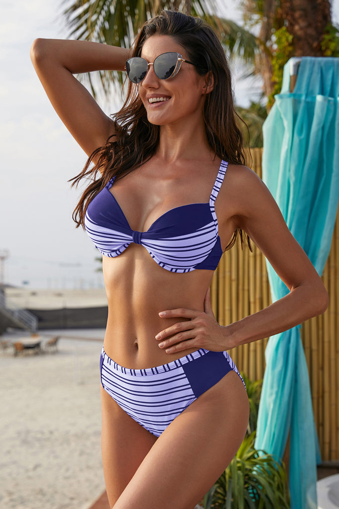 Stripes Splice High Waist Bikini Swimsuit