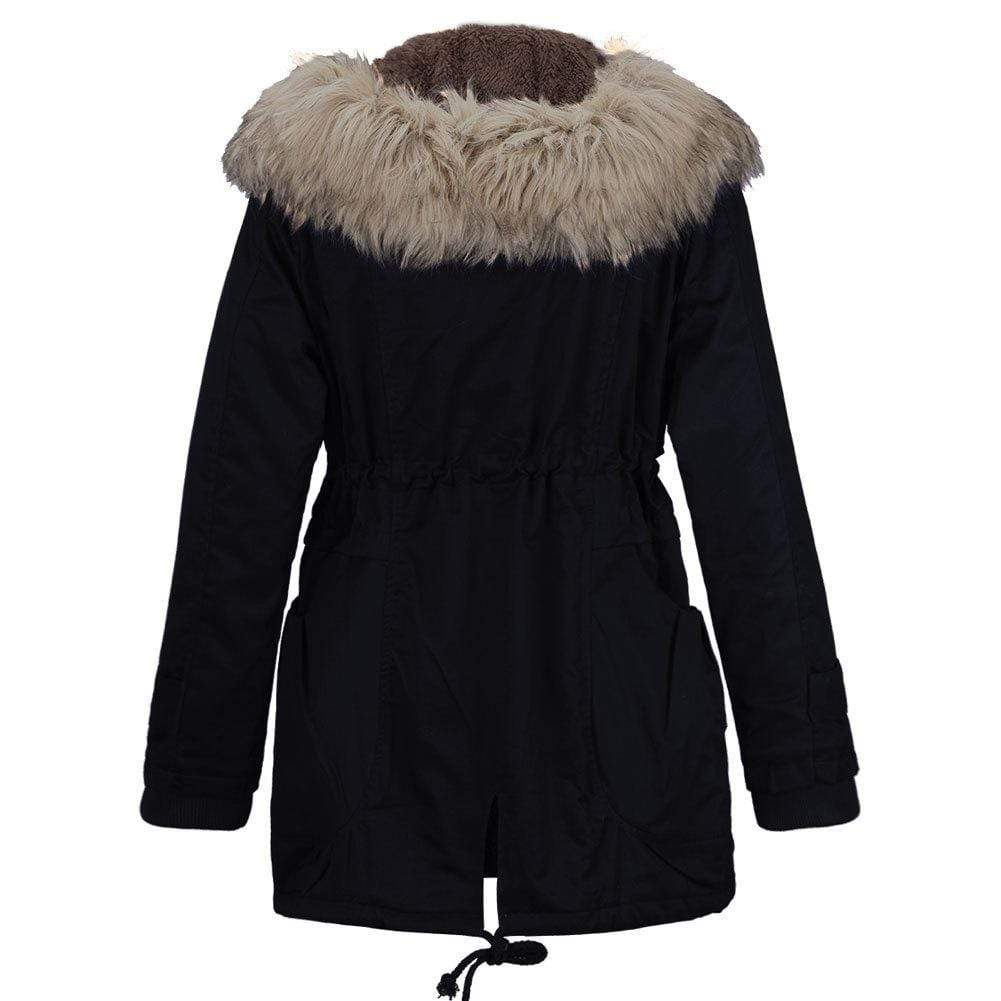 Fur Collar Thickened Plus Velvet Hooded Coat