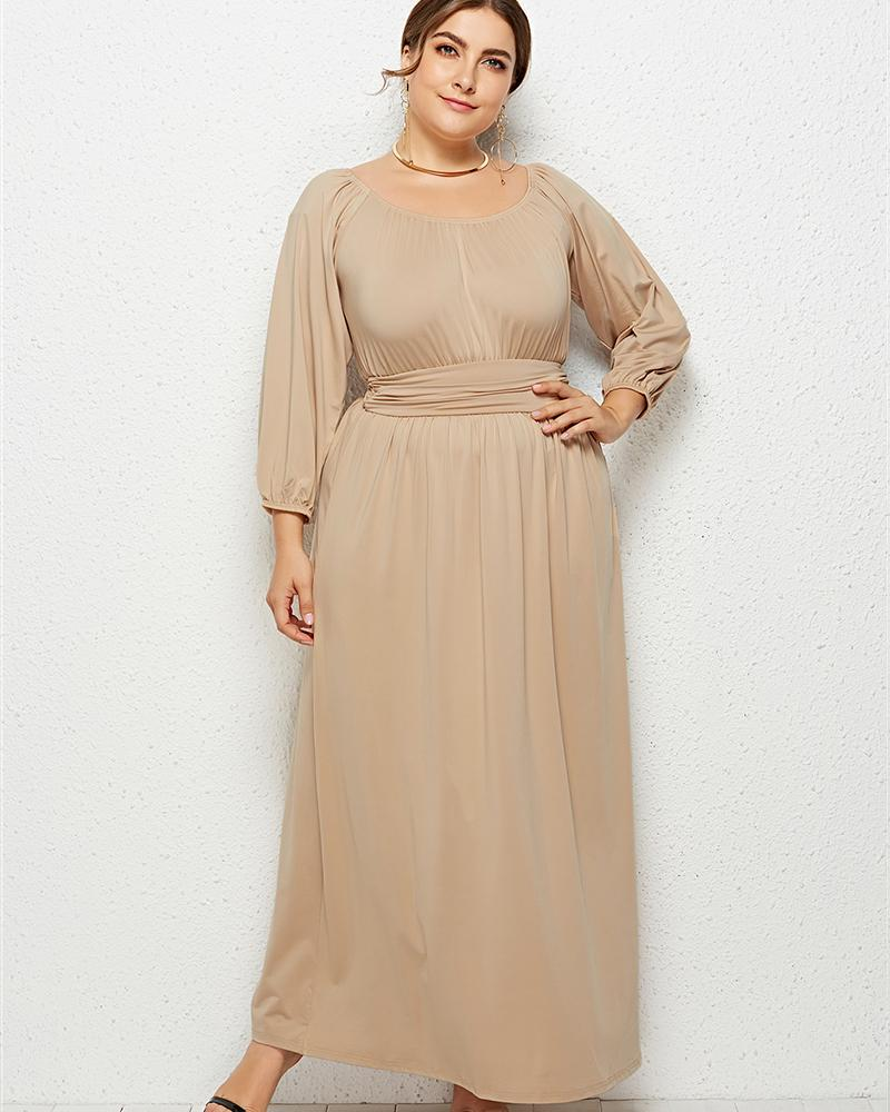 Large Size High Waist Long Solid Dress