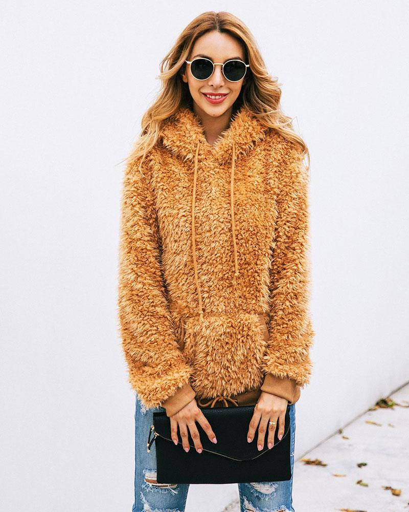 Plush Hooded Solid Color Sweatershirt