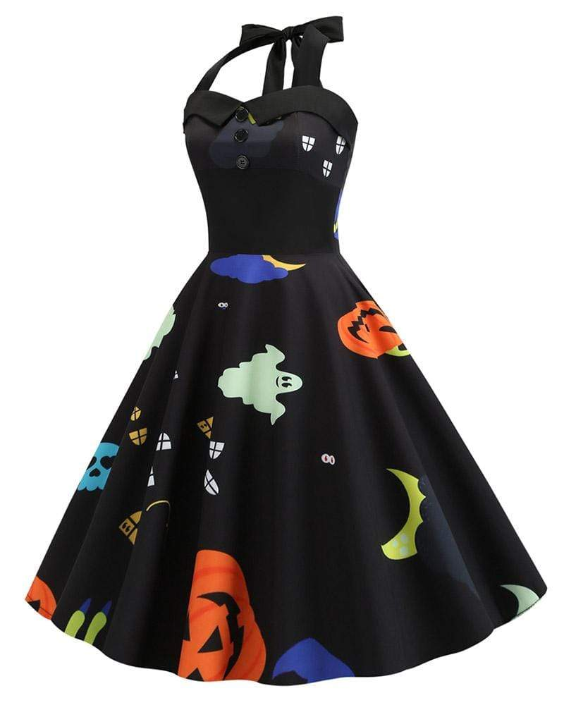 Exlura Halloween Pumpkin Ghost Print Vintage Halter Dress