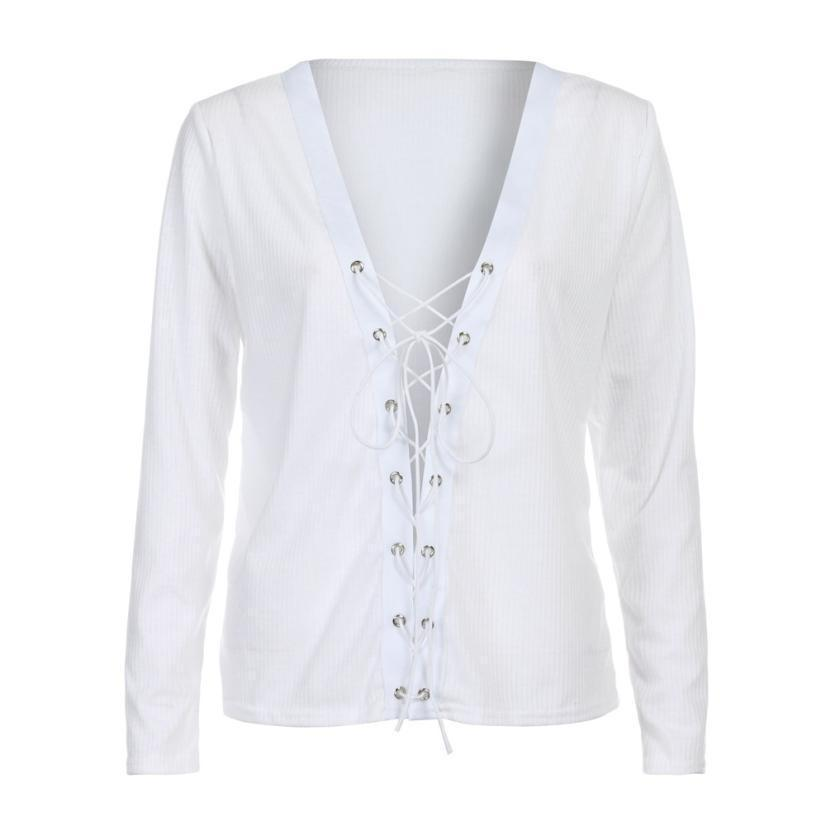 V-neck Front Lace Up Shirt