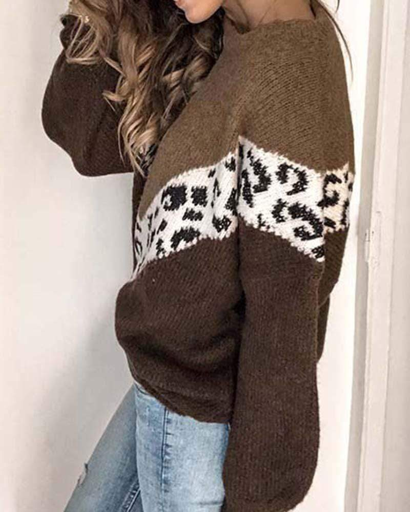 Exlura Leopard Stitching Contrast Color Sweater
