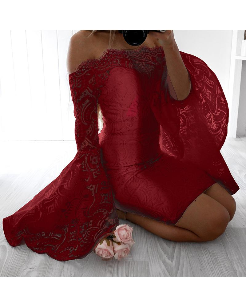 Lace Wrapped Off Shoulder Long Sleeve Slim Dress