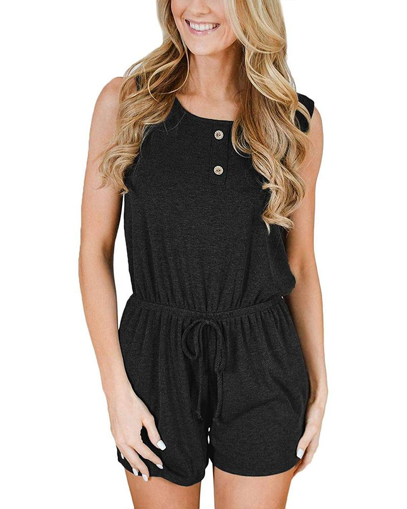 Casual Lace Up Solid Color Jumpsuit