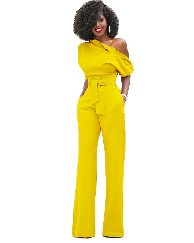 Strapless Off Shoulder Solid Color Jumpsuit