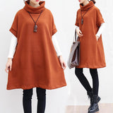 Short Sleeve Knitwear Turtleneck Cotton Sweater Dress - Exlura