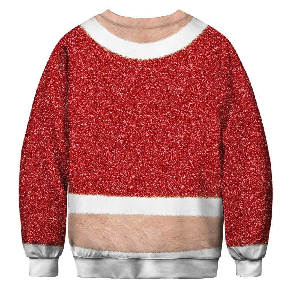 Exlura Christmas Chest Hair Print Funny Christmas Pullover