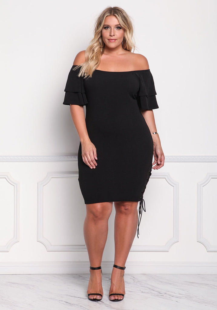 Off Shoulder Flare Sleeve Bodycon  Dresses