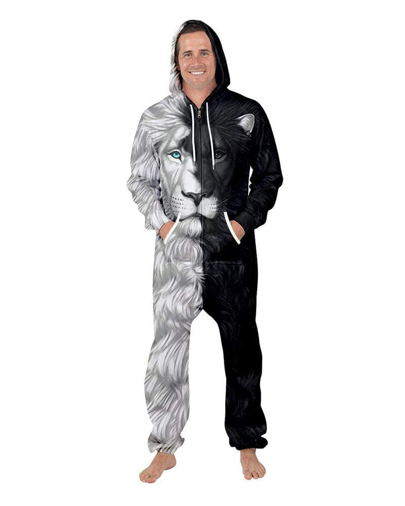 Exlura Lion Print Couples Hooded Zip Jumpsuit