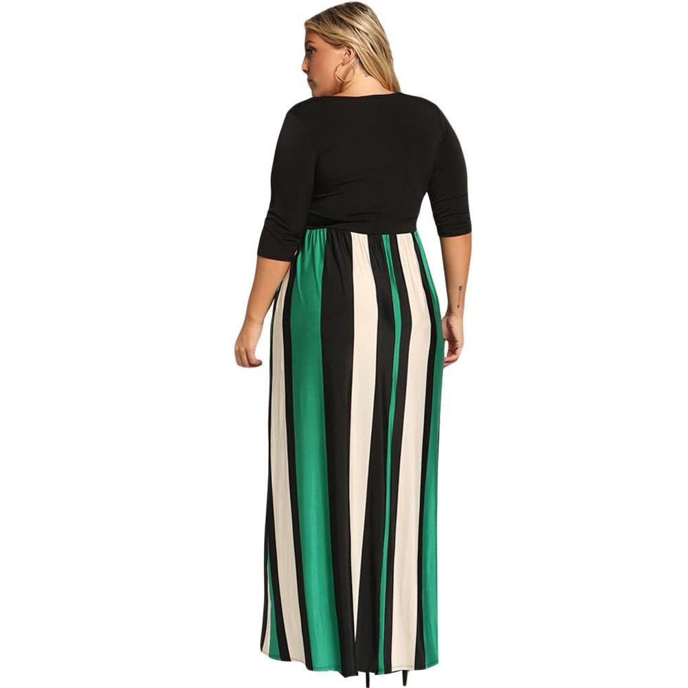 Striped Wrapped with Waistbelt  Large Size Dresses
