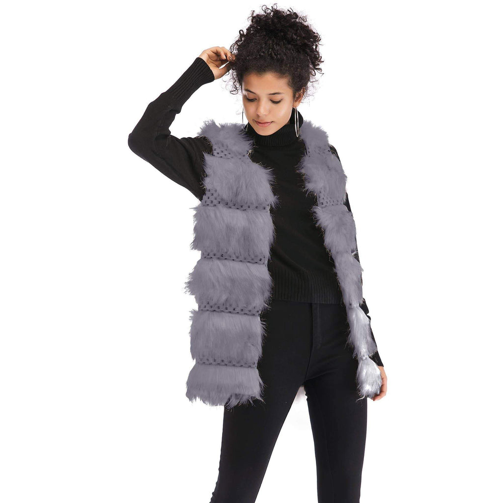 Faux Fur Multi-layer Patchwork Streetwear Vest