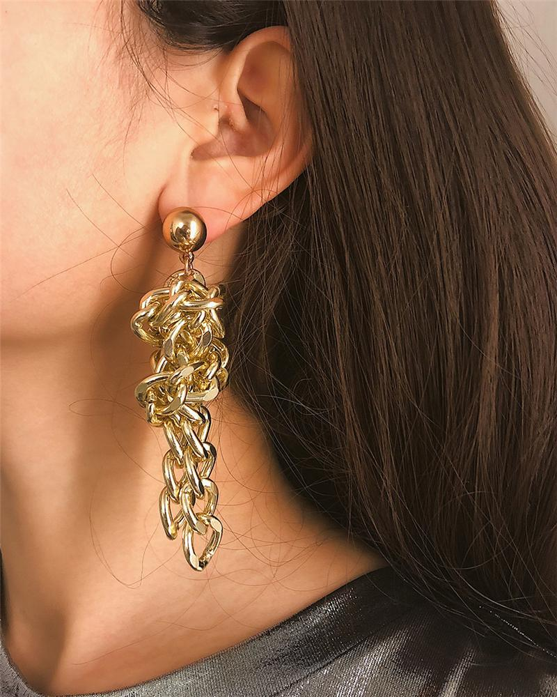 Geometric Metal Knotted Chain Stud Earrings
