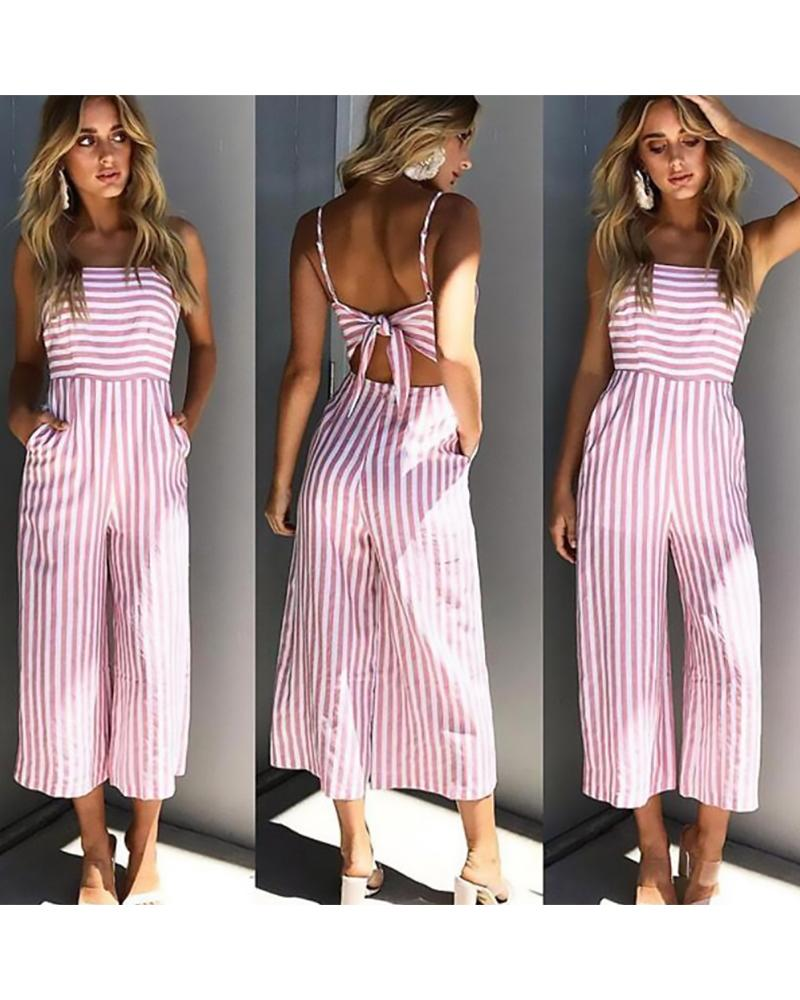 Striped Backless Bow Sling Wide Leg Jumpsuit