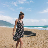 Sling V-neck Printed Chiffon Backless Beach Dress