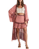 Exlura Swimsuit Cover Up Flowy Kimono Cardigan Beachwear with Belt