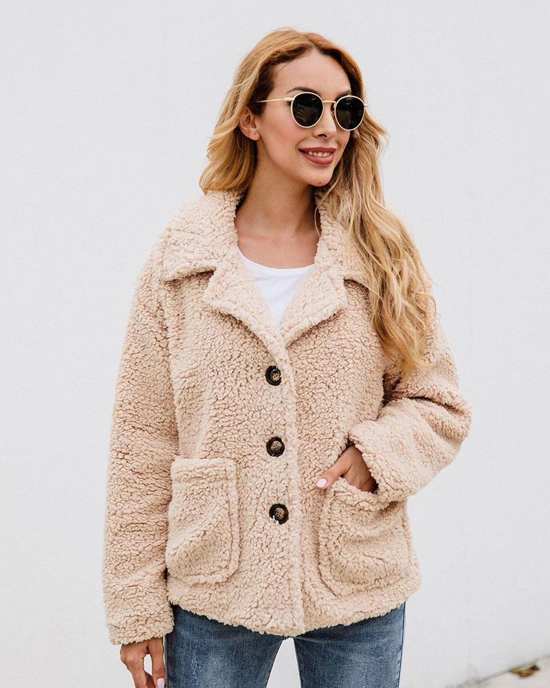 Plush Lapel Button Pocket Jacket