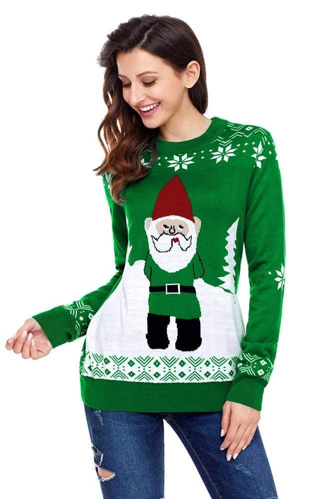 Exlura Snowman Green Pattern Knitting Christmas Sweater