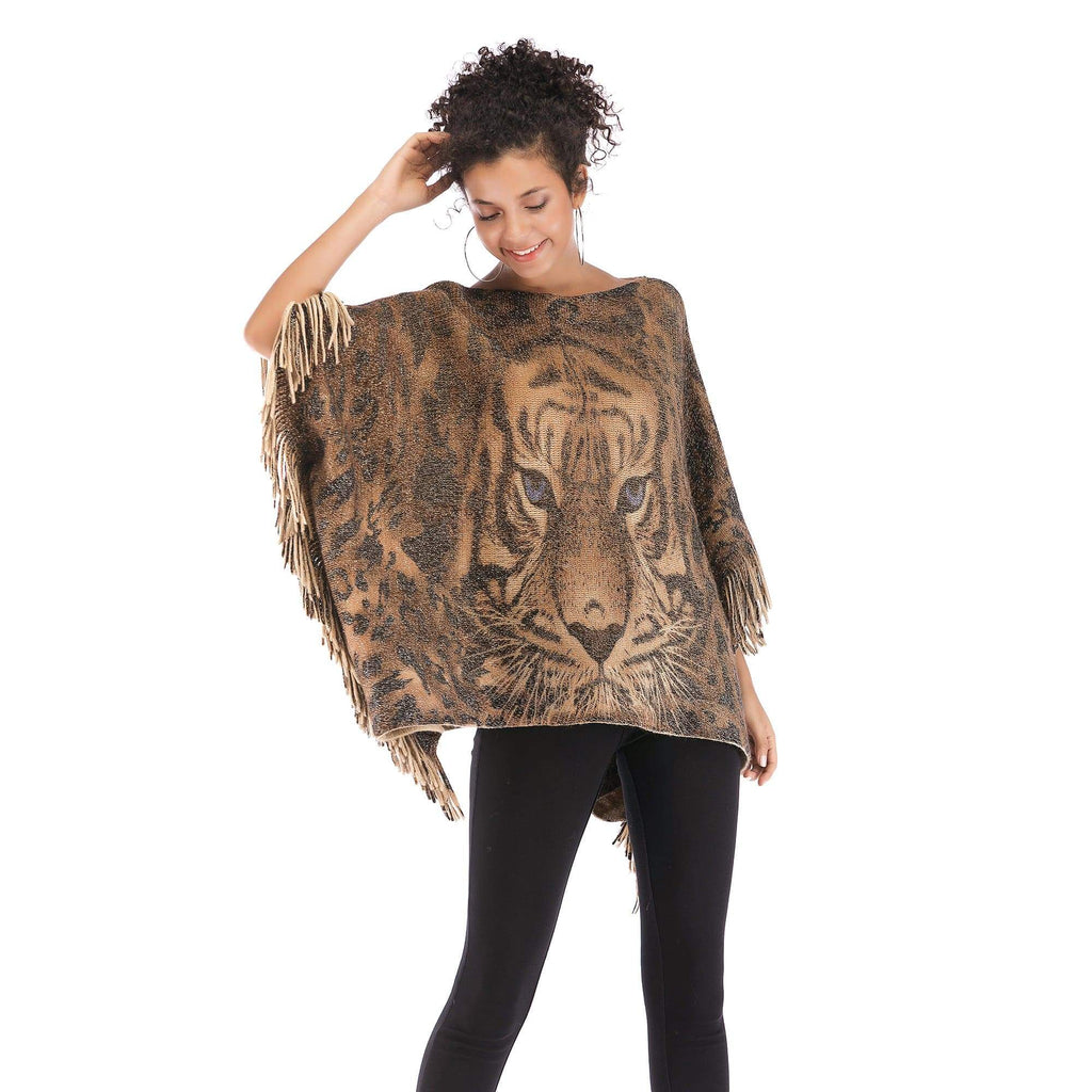 Printing Tiger Head  Tassel Cloak