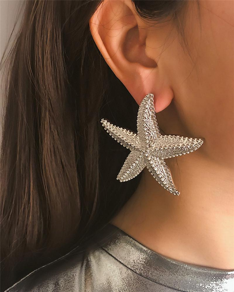 Three-dimensional Starfish Shaped Alloy Earrings