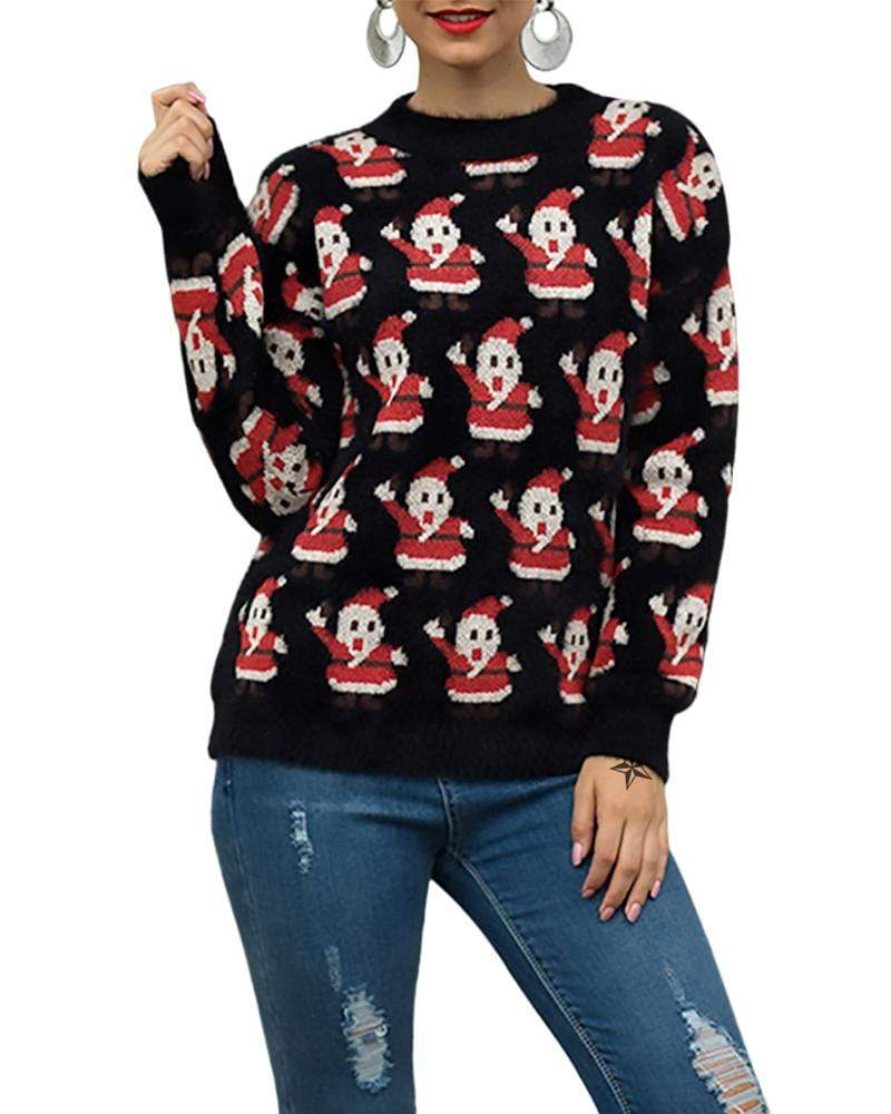 Exlura Ugly Christmas Sweater Reindeer Snowman Loose Pullover Tops