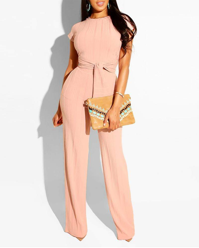 Exlura Two-piece Set Of Navel Casual Pink Jumpsuit