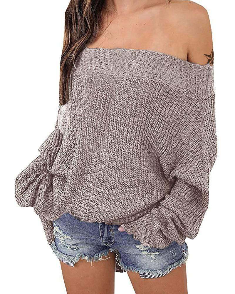 Exlura Batwing Sleeve Oversized Off The Shoulder Sweater