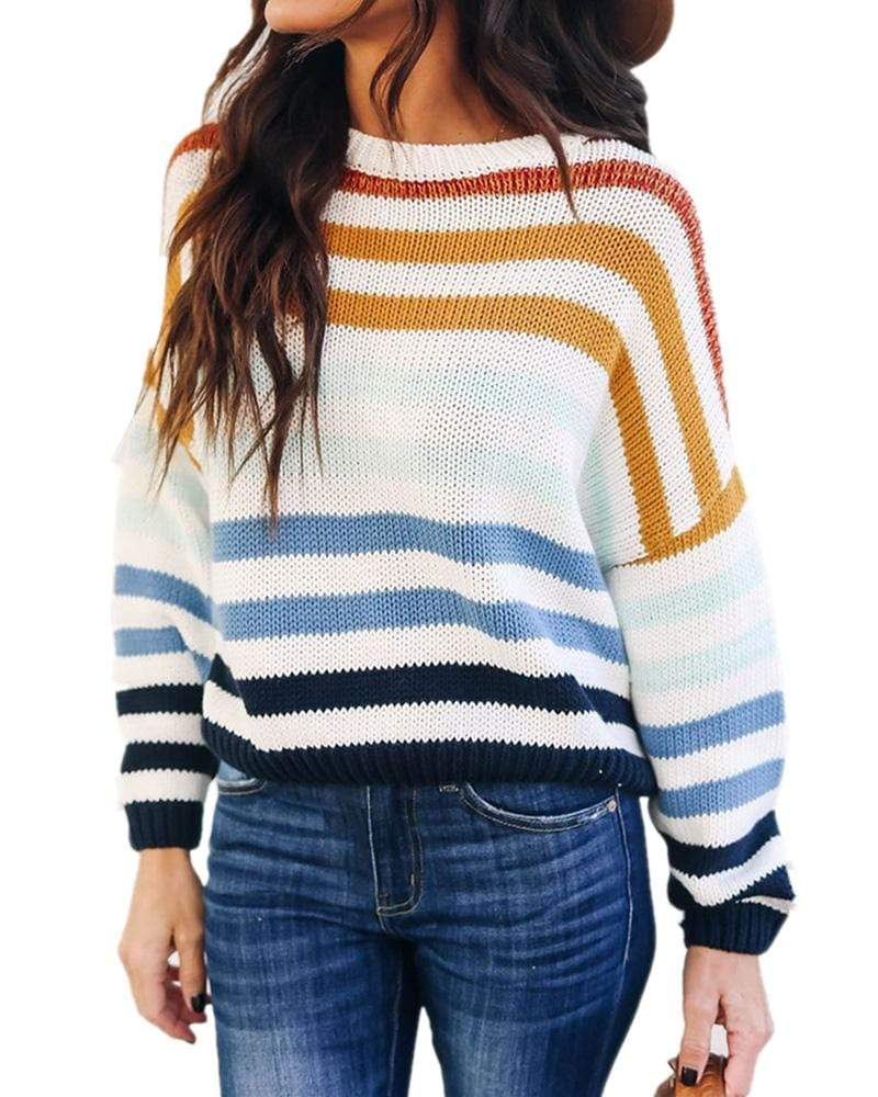 Exlura Intuition Multi Color Block Striped Oversized Sweater