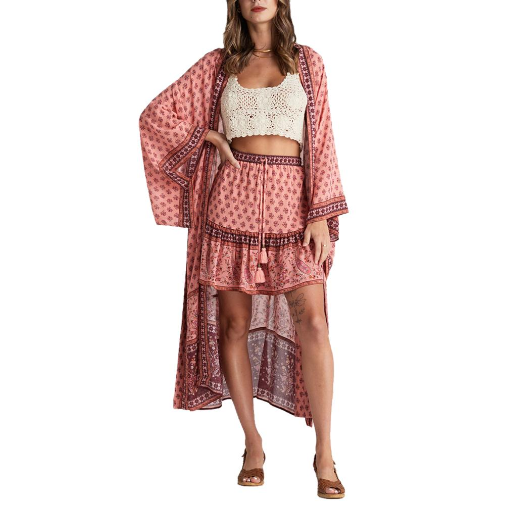 Exlura Swimsuit Cover Up Bikini Kimono Open Front Maxi Dress Loose Beachwear with Belt