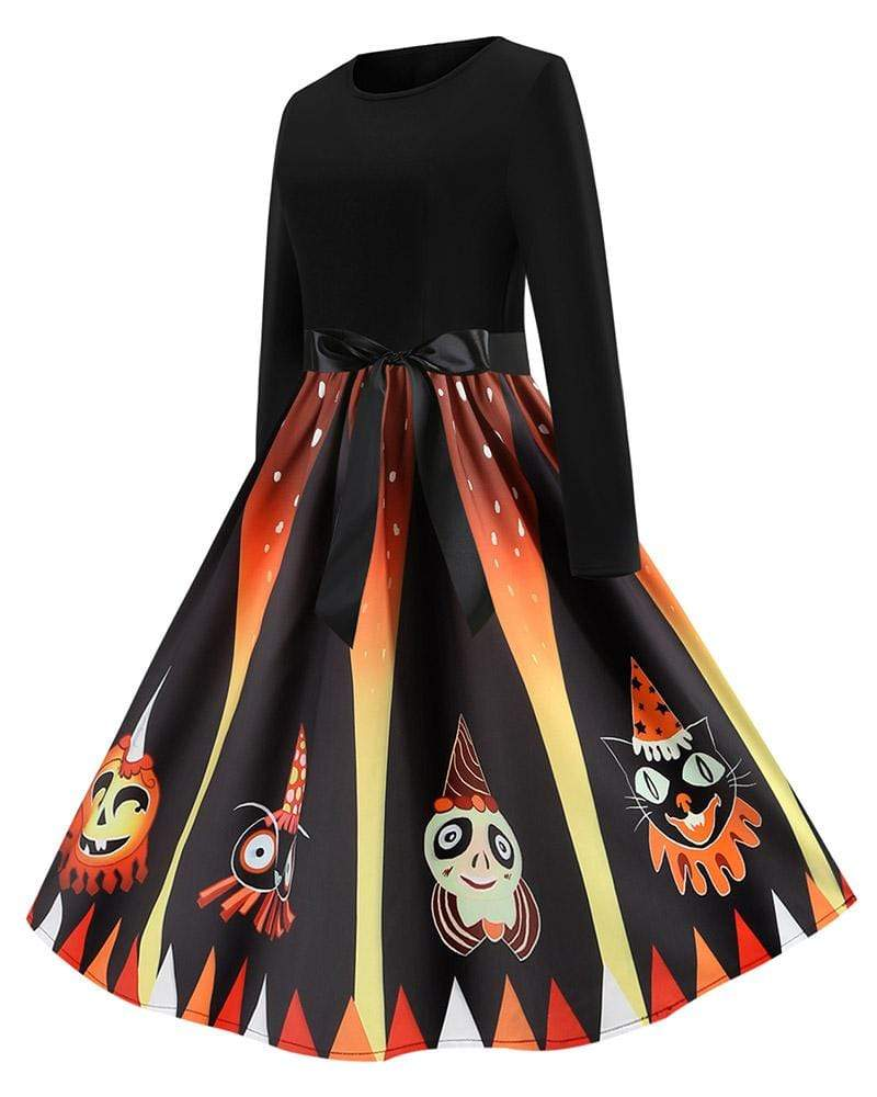 Exlura Contrast Color Ghost Print Big Swing Skirt