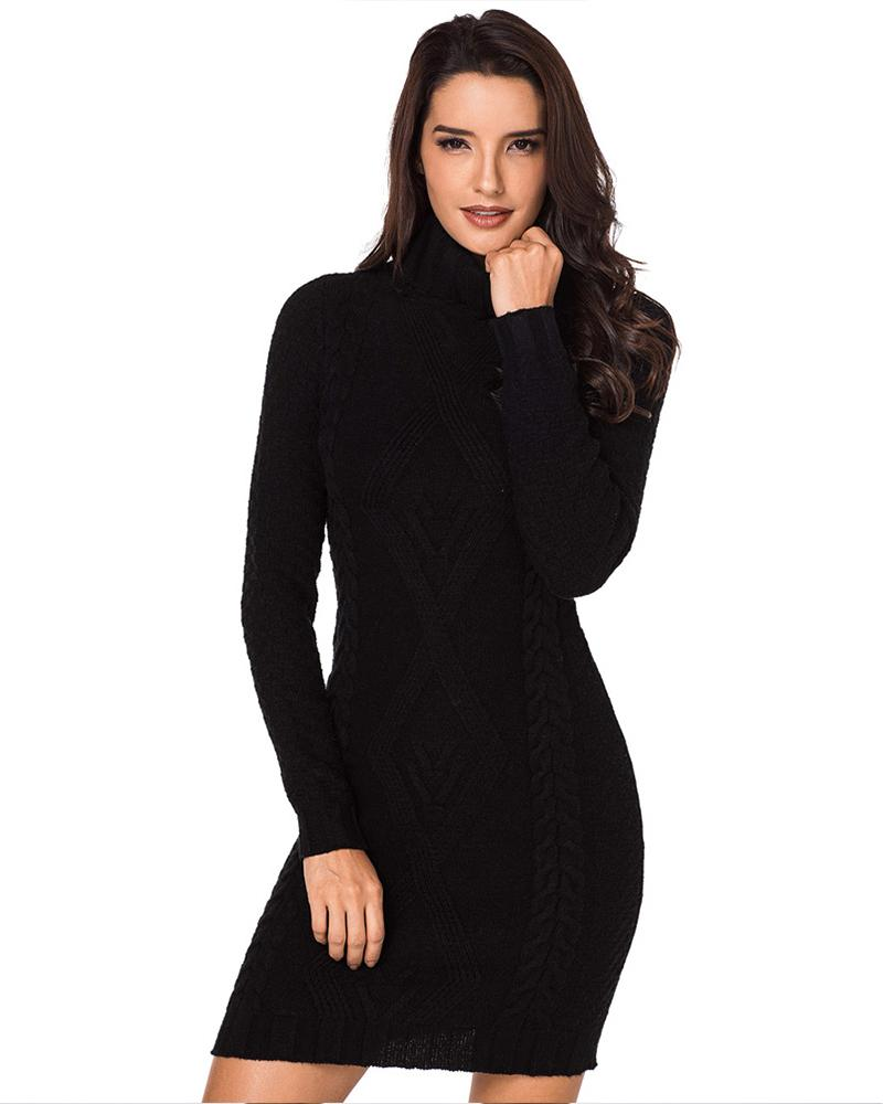Knitted Turtleneck Sweater Dress