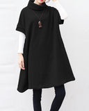 Short Sleeve Knitwear Turtleneck Cotton Sweater Dress