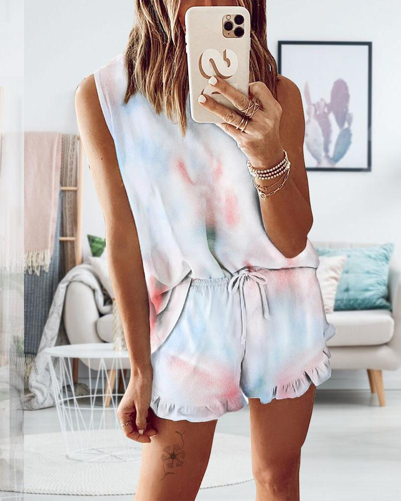 Exlura Womens Short Pajama Set Tie Dye Printed Ruffle Sleeveless Top and Shorts Sleepwear Nightwear Loungewear PJ Set
