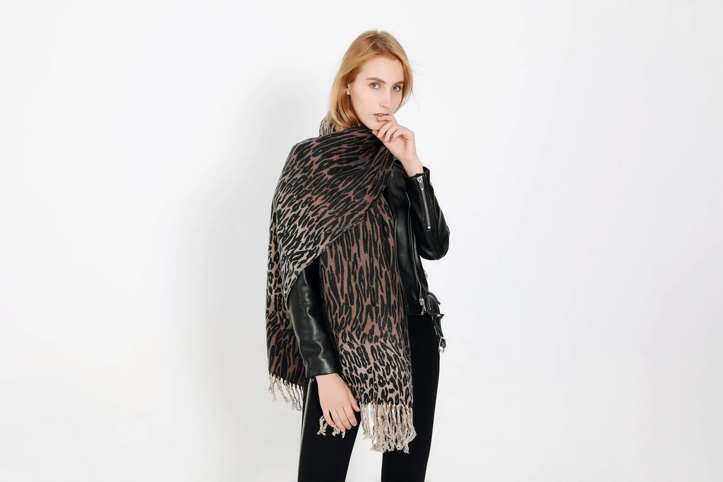 3D Printed Leopard Faux Cashmere Tassel Scarf